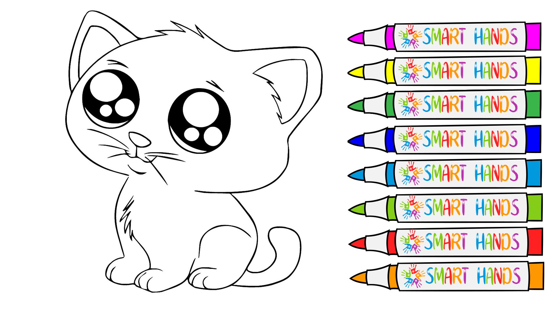 раскрасить котика любимыми красками, Раскраска кошечка ...
