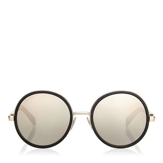 87697ec4ddc4 Eyewear · JIMMY CHOO ANDIE Rose Gold and Black Acetate Round Framed  Sunglasses with Gold and Silver Fabric