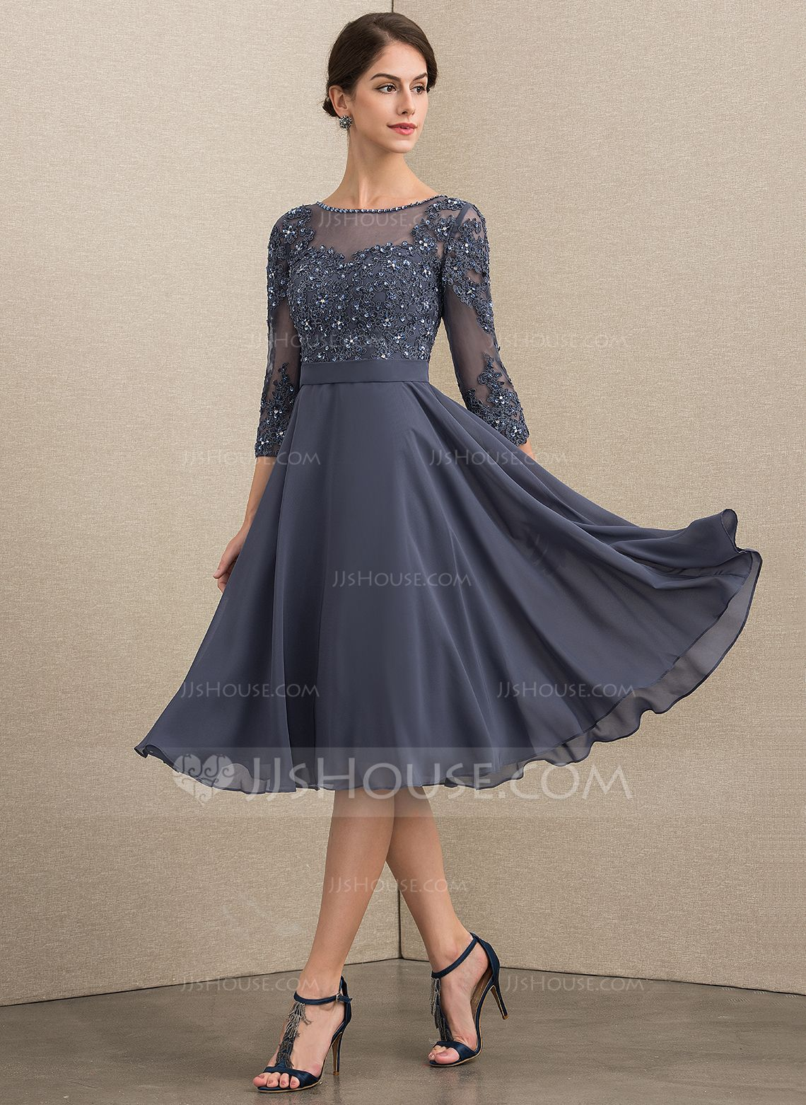 US$ 15.15] A-Line Scoop Neck Knee-Length Chiffon Lace Mother of