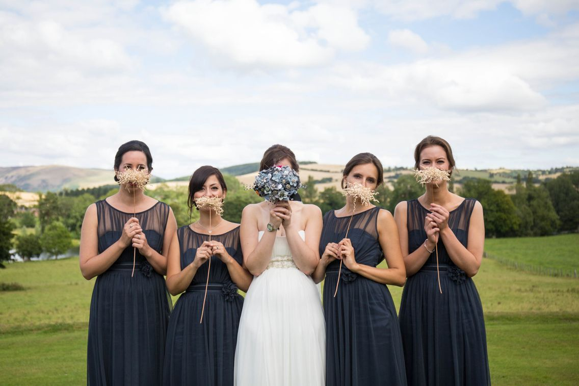 Navy blue bridesmaids dresses Walcot hall wedding photography