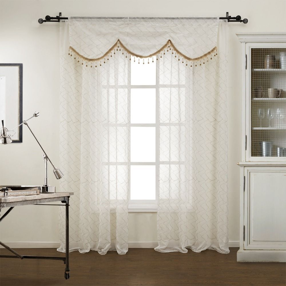 One Rod Curtains With Valance Twopages One Panel Modern Figure Sheer Curtain With Valance With Sheer Curtains Curtains Modern Sheer Curtains