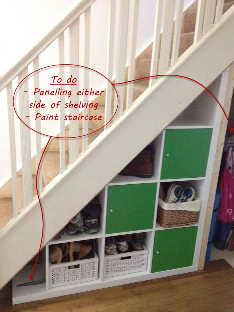 ikea expedit hack: under-stairs storage | degree angle, stair