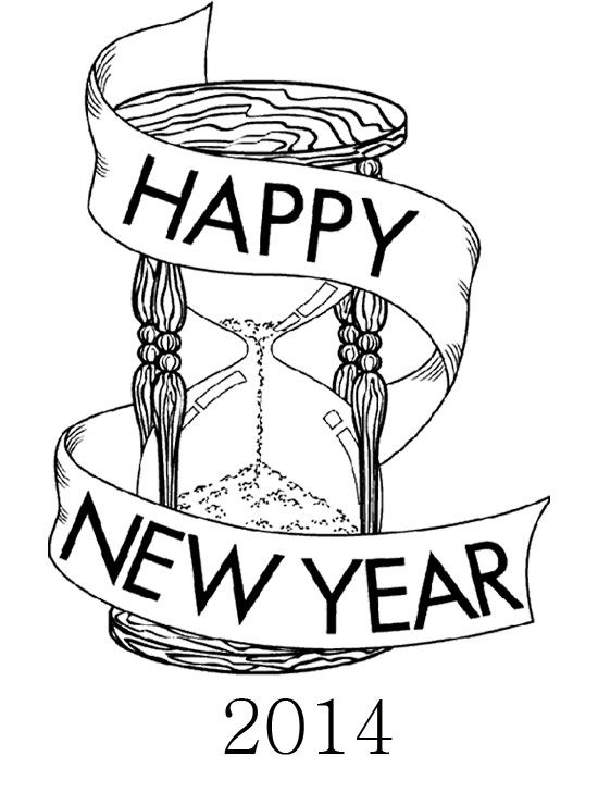 Happy New Year Sand Clock For Greeting Card Coloring Page