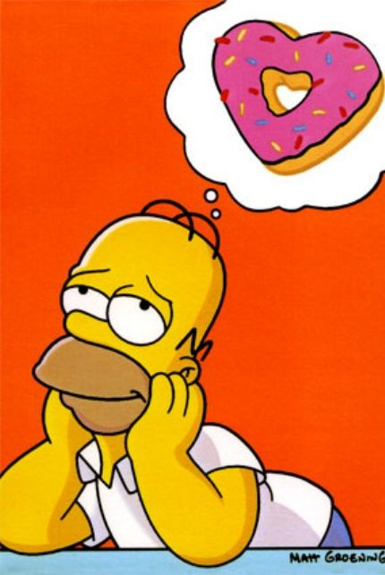 Cartoons of people eating donuts homer simpson dreaming of donuts