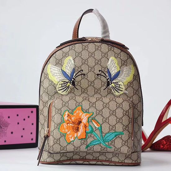 eaaeddfa61e Gucci Embroidered Butterfly GG Supreme Backpack 427042