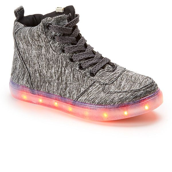 GRAVASPHERE Heather Gray Light-Up Hi-Top Sneaker (410 MXN) ❤ liked on Polyvore featuring shoes, sneakers, high top trainers, colorful high top sneakers, lace up high top sneakers, colorful sneakers and hi tops