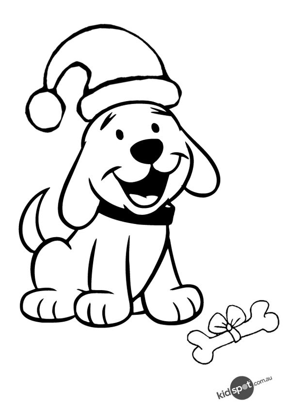 free online christmas puppy colouring page signs pinterest