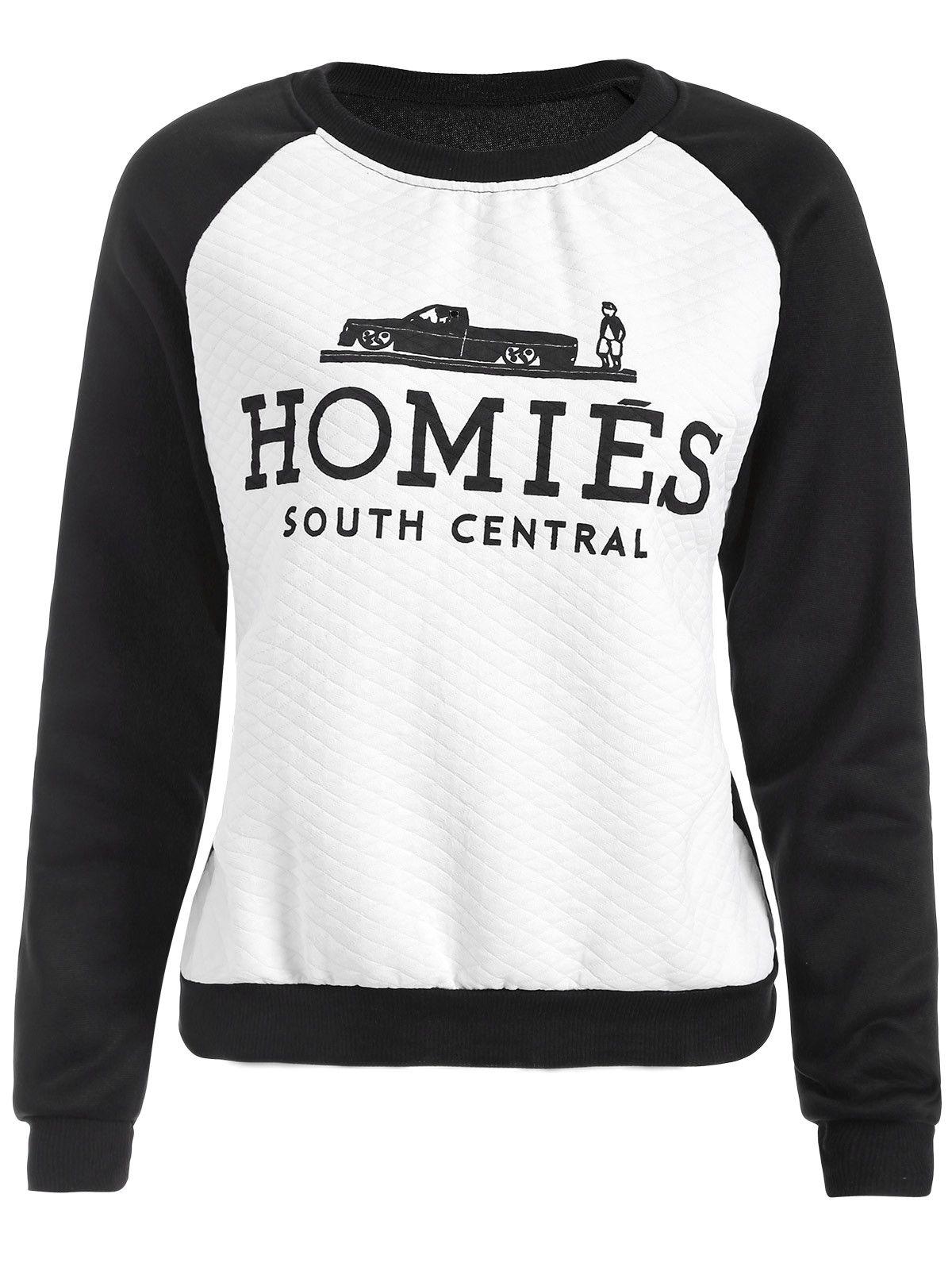30e9aad00 $11.49 Raglan Sleeve Color Block Homies Cartoon Print Sweatshirt ...