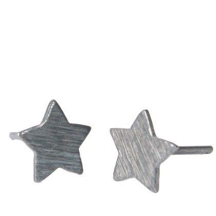 PERNILLE CORYDON EAR RINGS - MEDIUM STAR STICK OXIDIZED SILVER
