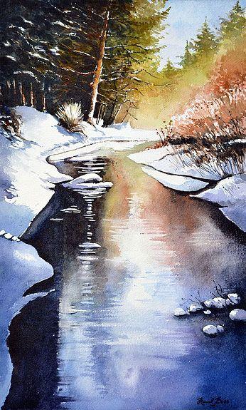 Rivi re dans une clairi re en hiver sous la neige et la glace wonderful winter konst et - Paysage enneige dessin ...