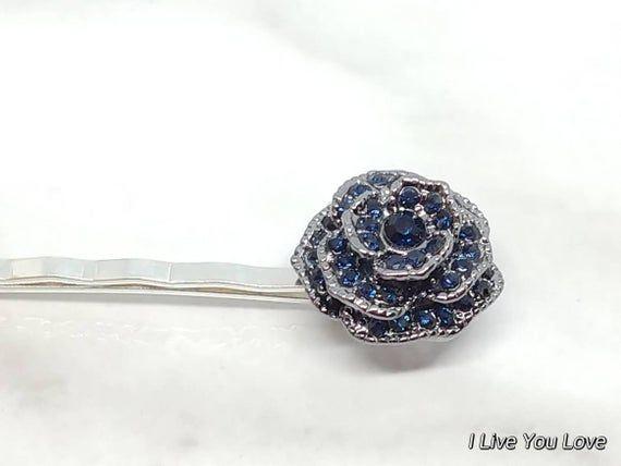 Navy Blue Flower Bridal Hair Pin-Blue Bridal Hair Accessories,Wedding Hair Accessories,Bridal Hair P #bridalhairflowers