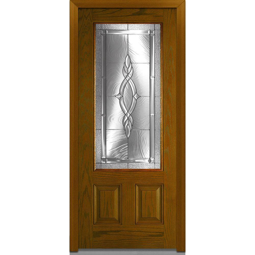MMI Door 36 in. x 80 in. Brentwood Left-Hand 3/4 Lite 2-Panel Classic Stained Fiberglass Oak Prehung Front Door-Z000164L - The Home Depot  sc 1 st  Pinterest & Milliken Millwork 36 in. x 80 in. Brentwood Decorative Glass 3/4 ...