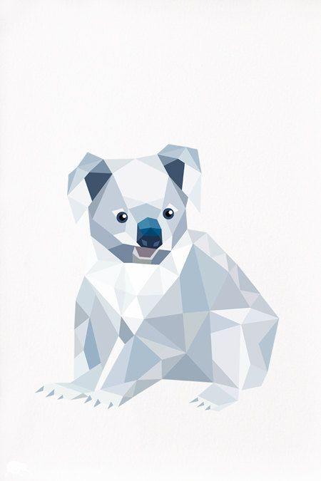Koala Geometric Illustration By Tinykiwiprints Geometric Animals