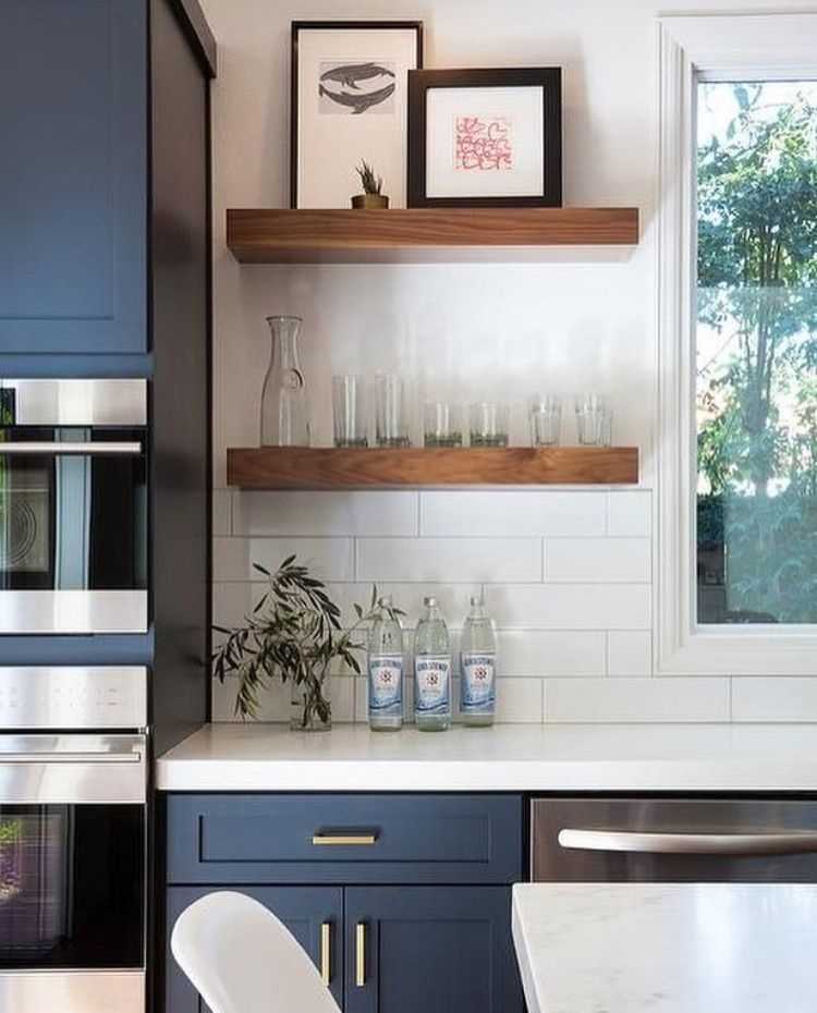 Love The Navy Cabinets, White Subway Tile, And Earthiness Of The Wood  Shelving. A Faded Warm Toned Paint On The Walls And Brushed Nickel Pulls  Instead Of ...