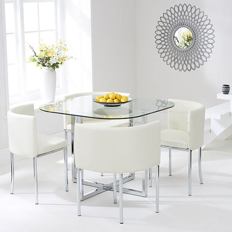 Abingdon Stowaway Dining Table + 4 Chrome And Glass Dining Set (Multi  Colours)