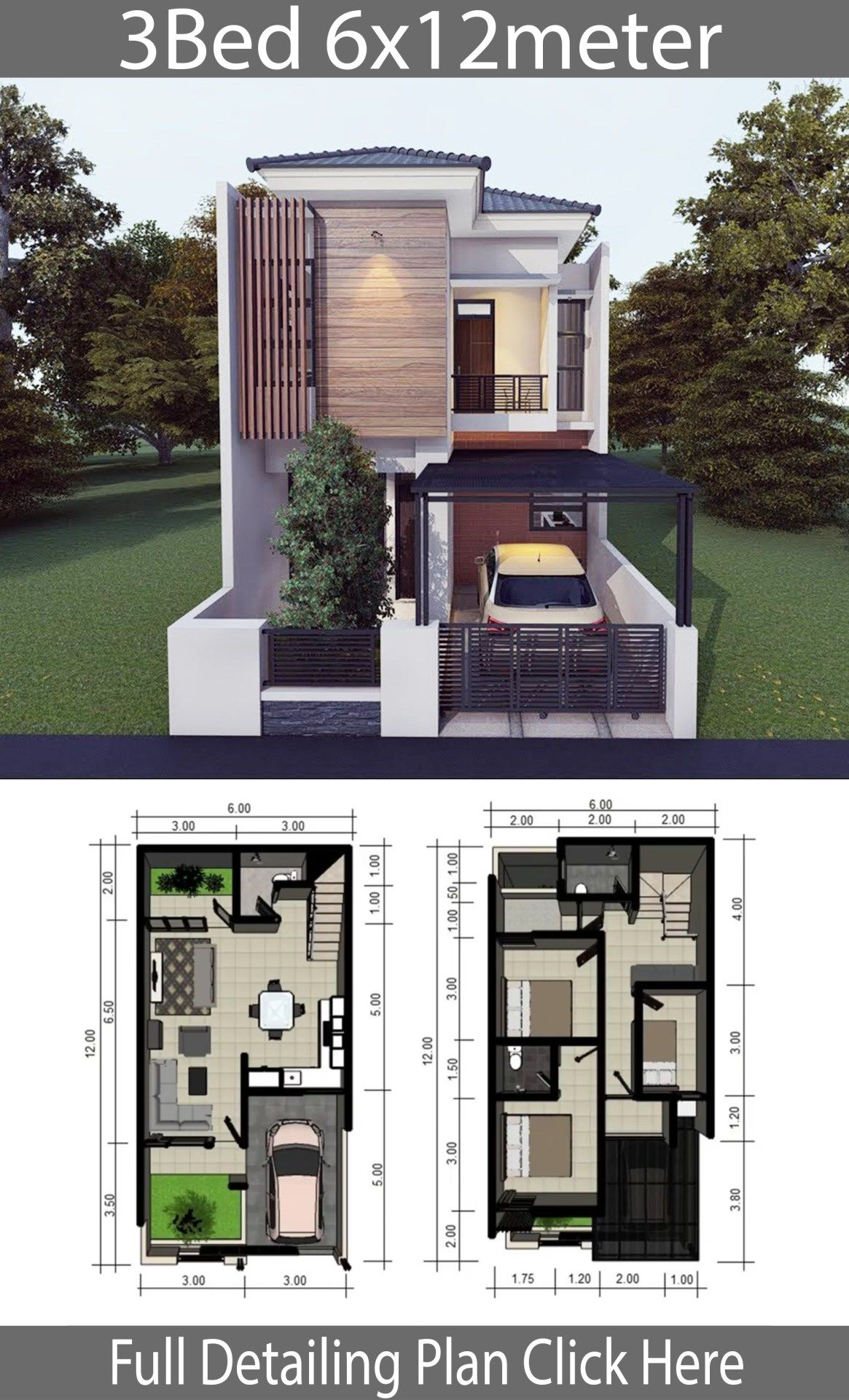 Home Design Plan 6x12m With 3 Bedrooms Home Design With Plansearch Architectural House Plans Minimalist House Design Small House Design