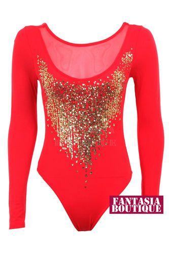 Nina Hannah Mom Ladies Long Sleeve Gold Sequin Mesh Insert Low Back Leotard Womens Bodysuit | eBay