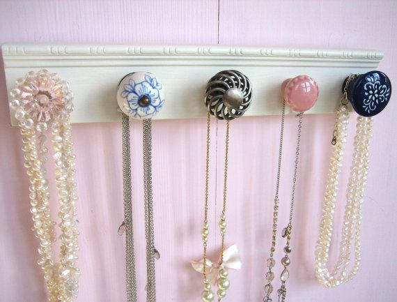 Necklace Organizer Hanging Jewelry Rack with Pink Blue and