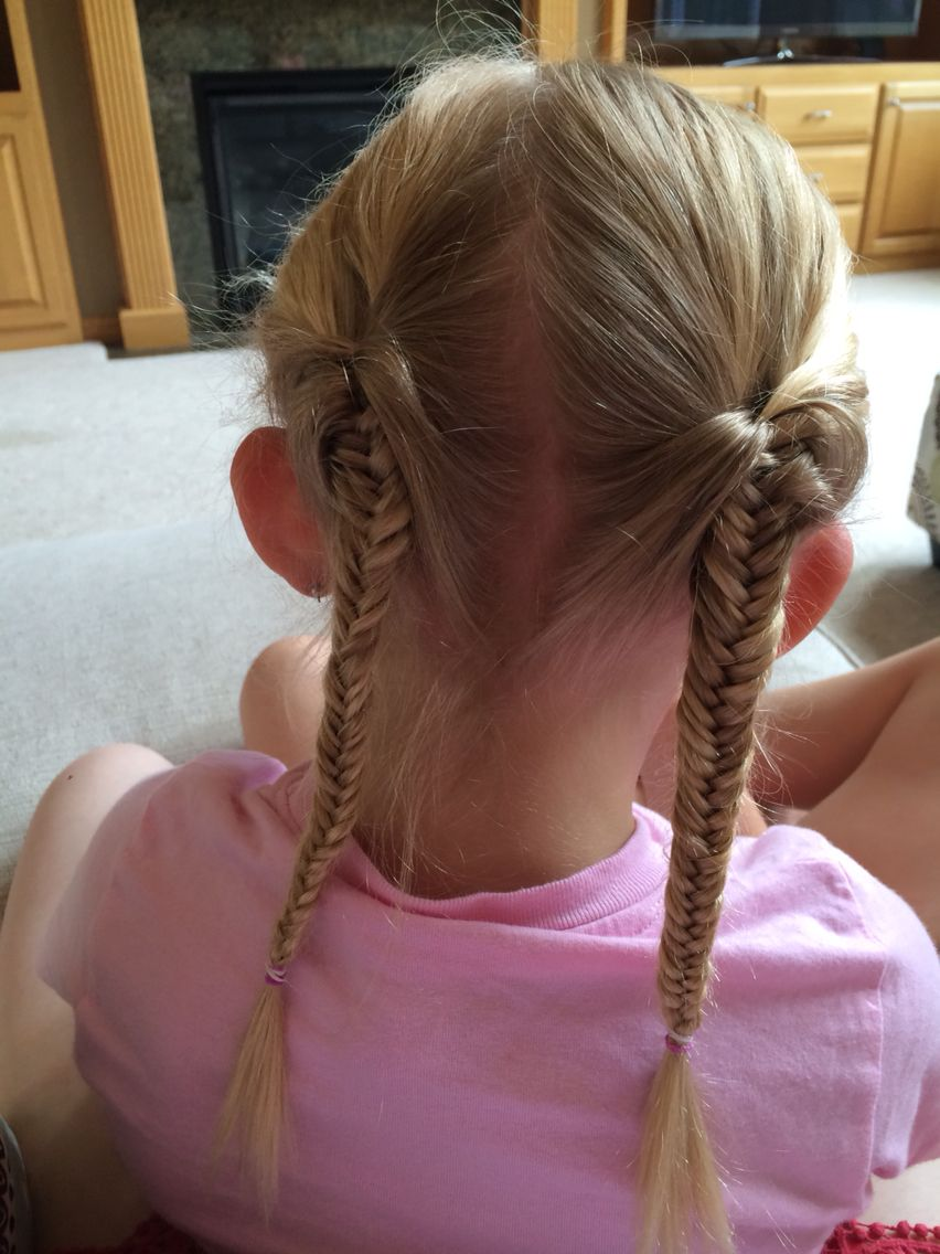 A New Twist on Braids: Fishtail Pigtails WithRibbons