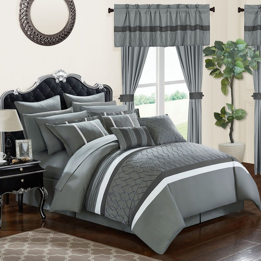 Dinah 24 Piece Bedding Window Curtain Set In 2020 Complete Bedding Set Comforter Sets Chic Home