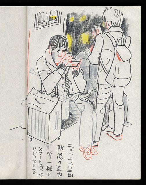 Hankyu train by 京都スケッチ部, via Flickr // sketchbook