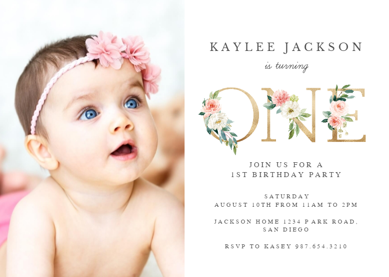 One Floral Letters Birthday Invitation Template Free Greetings Island 1st Birthday Invitations Baby Birthday Invitation Card Photo Birthday Invitations
