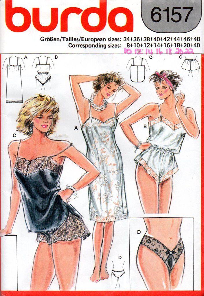 0996fd1c97 Burda 6157 Womens 80s Lingerie pattern Teddy Slip Camisole Tap Panties  Underwear Sizes 10 - 22 UNCUT Factory Folded