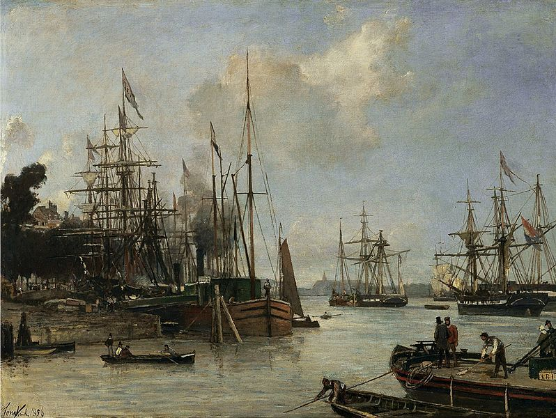 """Johan Barthold Jongkind: """" A View of the Harbor, Rotterdam"""", 1856, Oil on canvas, Dimensions: 43 × 56 cm, Current location: Museum Thyssen-Bornemisza."""