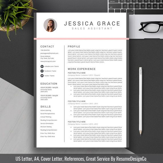 Professional Resume Template Cover Letter CV by ResumeDesignCo