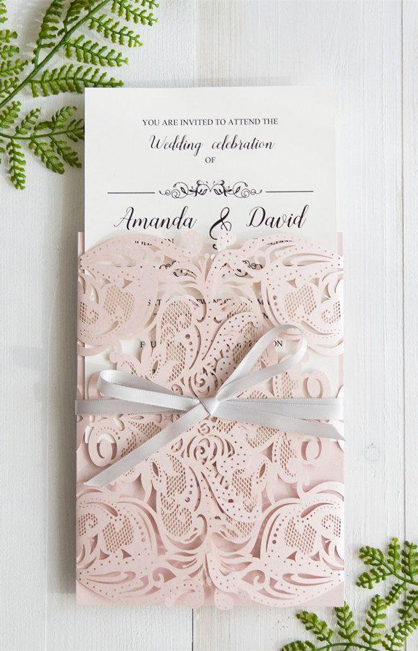 62c735ea3dce Elegant Blush Pink Laser Cut Wedding Invitation With Gray Band ...