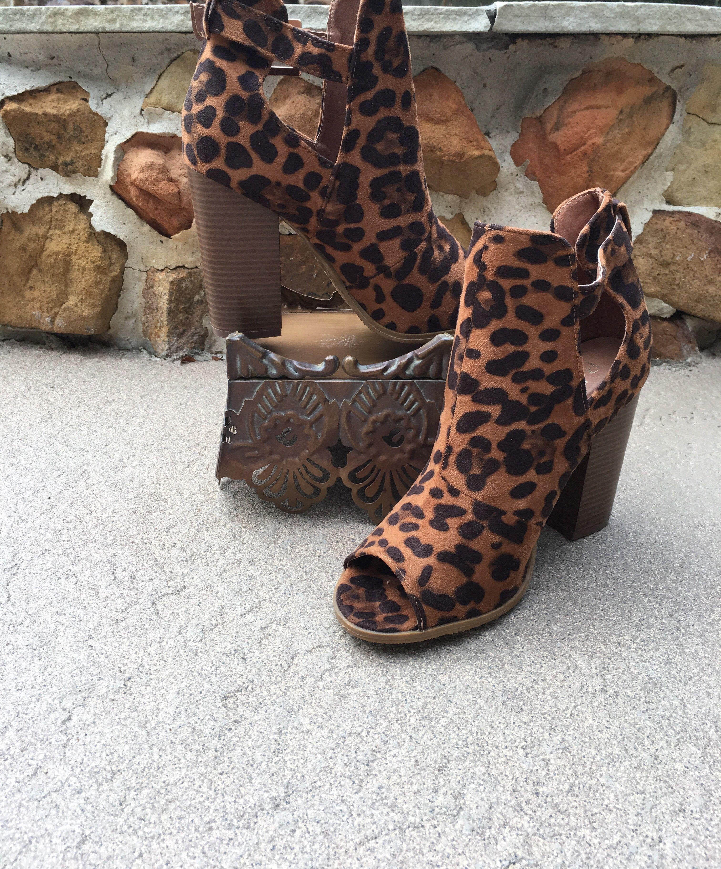 Leopard Peep Toe Booties