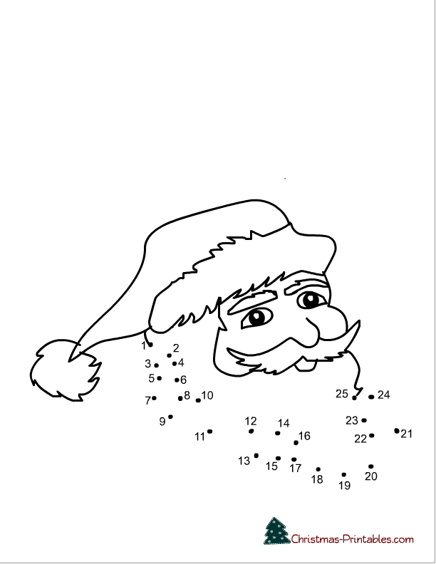 free printable santa dot to dot | Free Printable Worksheets and ...