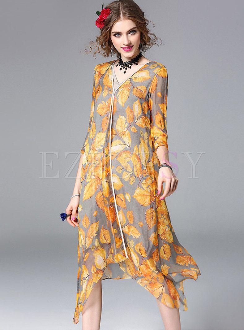 Leaf Print Asymmetry Three Quarters Sleeve Shift Dress