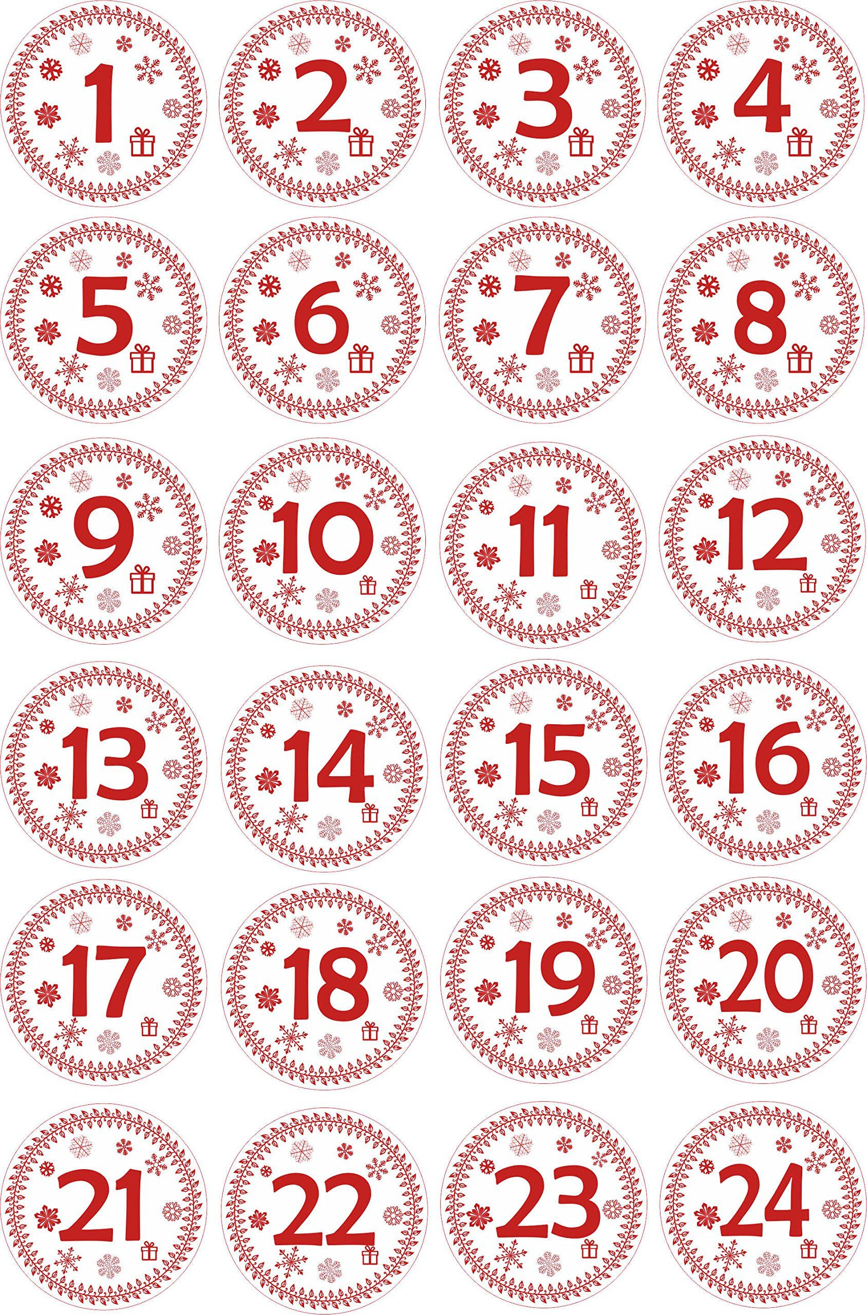 Indigos ug advent calendar numbers stickers 1 to 24 red vintage labels stickers christmas calendar advent round diy to stick on make