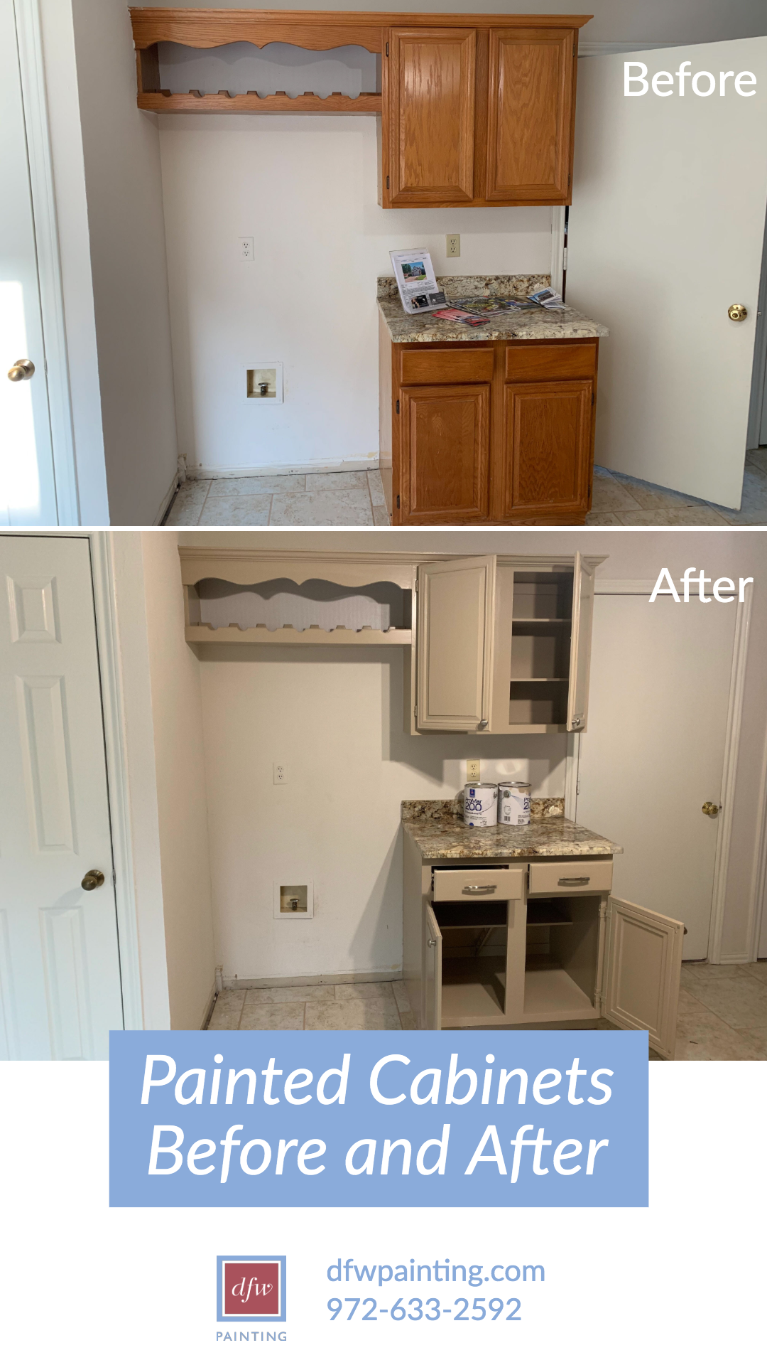 Painted Cabinets Before And After Dfw Painting Painting Cabinets Cabinet Refinishing Cabinets