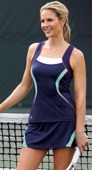 Tail Ladies Tennis Performance Outfits Raceback Tank Skort Summer Lovin Navy Blue Tennis Clothes Tennis Outfit Women Golf Outfits Women