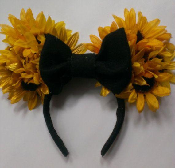 Sunflower Disney Mouse Ear Headband Flowers Bow by flipadeeflop, $20.00