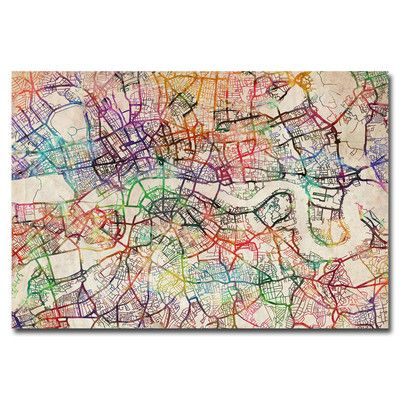 London Street Map V By Michael Tompsett Textual Art On Wrapped