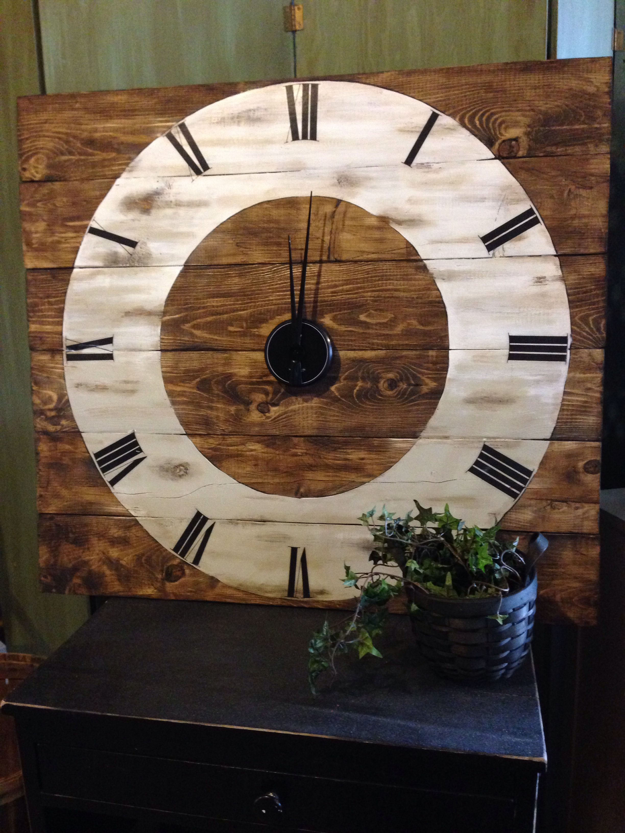 3' X 3' Wall Clock I made from pallet wood, walnut stain ...