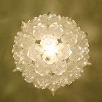 Upcycled Diy Light Made From Plastic Soda Bottles Bubble Chandelier Diy Plastic Bottle Diy Chandelier