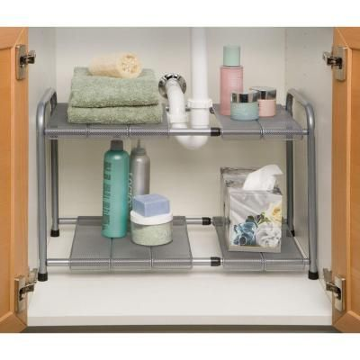 Seville Classics 2-Tier Steel Expandable Sink Shelf-SHE14048B - The Home Depot