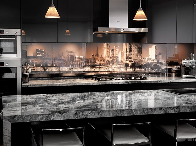 printed glass splashback - kitchen design - melbourne skyline