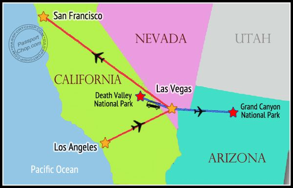 USA MAP Itinerary West Coast Weeks Days Las Vegas San - San francisco on us map