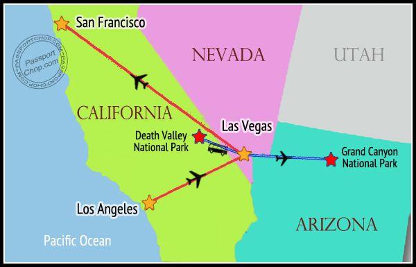 USA MAP Itinerary West Coast Weeks Days Las Vegas San - Us map los angeles