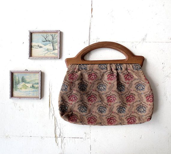 Vintage 1940s Purse Knitting Bag Floral Tapestry Bag Knitted Bags Wooden Handle Bag Bags