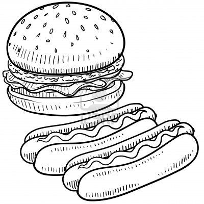 Stock Photo Croquis Hamburger Dessin Dessin Noir Et Blanc