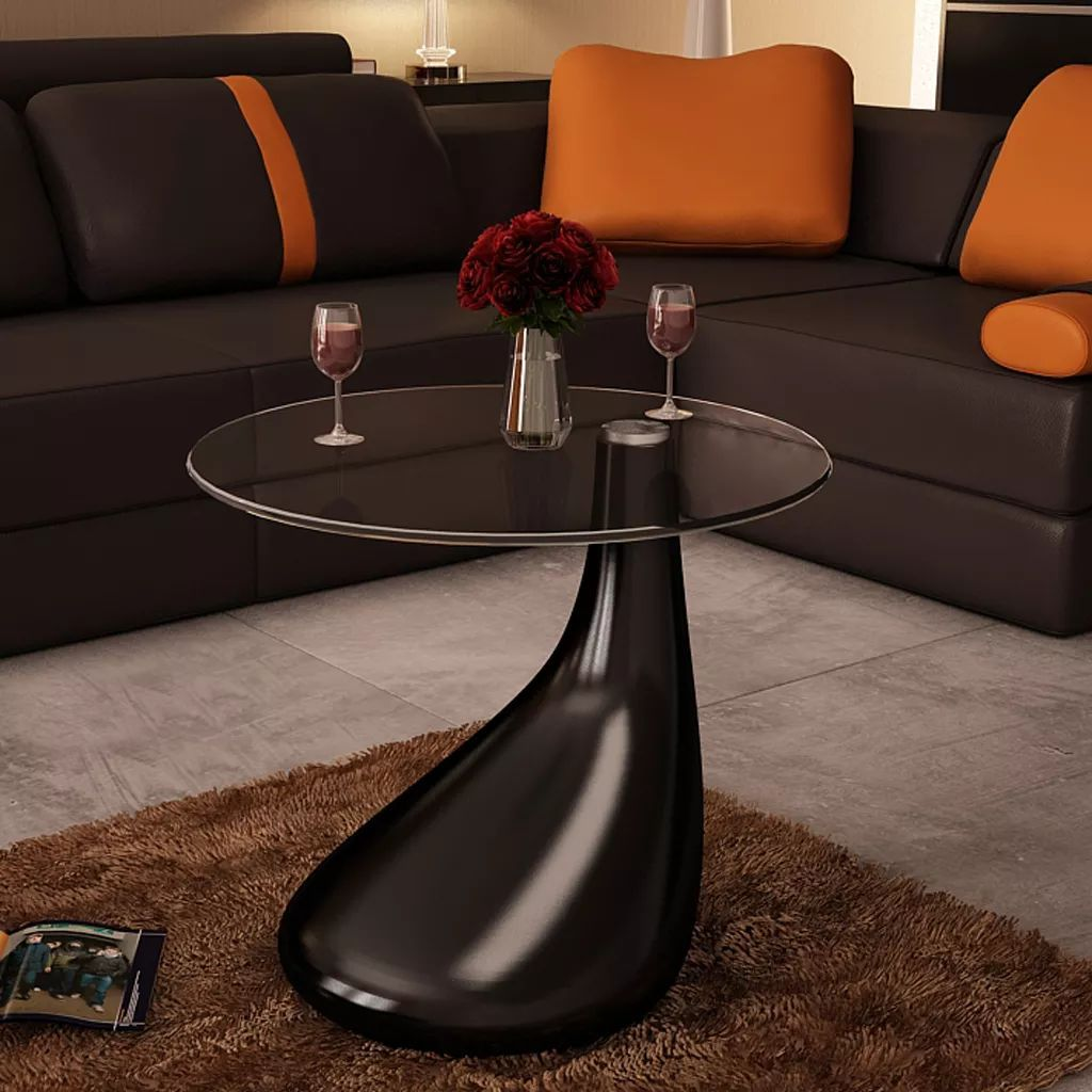 vidaXL 1/2x Coffee Tables w/ Round Glass Top Stand End Side Home Multi Colors - Black / 1