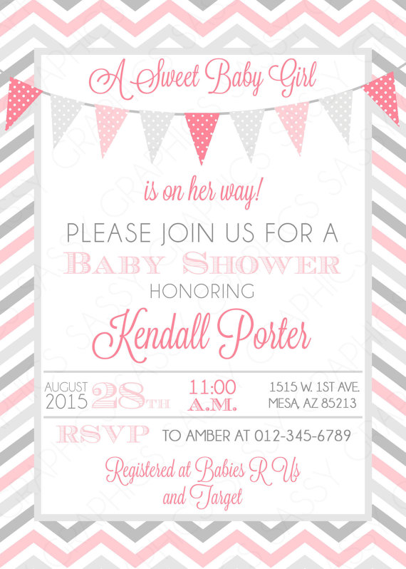 Baby Girl Shower Invitation Gray Chevron Pink Gray Pennant Bunting Banner  Itu0027s A Girl Baby Shower