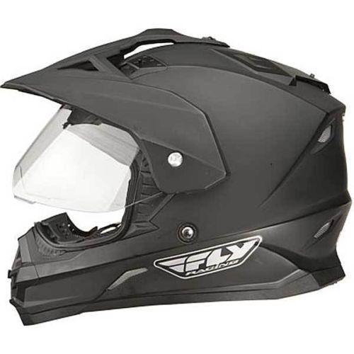 6eb5a83a FLY Trekker Helmet MX ATV Street Matte Black Dual Sport Peak Clear Shield  Incl | eBay