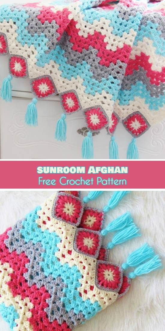 Sunroom Afghan Free Crochet Pattern Easy Patterns Sunroom And